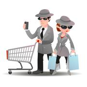 Mystery shopper man with shopping cart phone and woman bag in spy coat - stock illustration