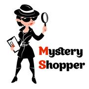 Black and white mystery shopper woman in spy coat - stock illustration