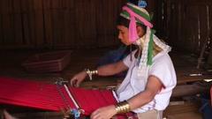 Asian Ethnic Woman.Karen Long Neck Village. Ethnicity of Thailand - stock footage