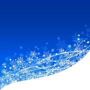 Winter and Christmas background in blue with white snowflakes - stock illustration