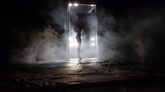 Girl Dancing in Glass Cube - stock footage