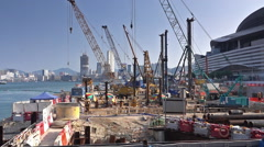 Construction site near the harbor at day, Hong Kong city. Stock Footage
