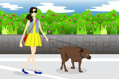 Girl Walking With Her Dog in the Park Stock Illustration