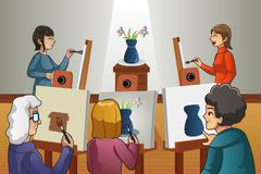 People in Painting Class - stock illustration