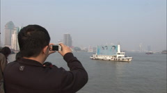 Advertising boat, photo, Shanghai, China Stock Footage
