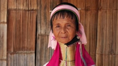 Old Asian Karen Tribal Woman in Long Neck Hill Tribe Village Stock Footage