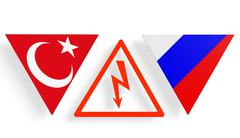 Politic relationship between Russia and Turkey - stock illustration