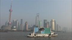 Tiffany ad, advertising boat, Shanghai river - stock footage