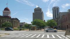 Buildings along a main street in Springfield Stock Footage