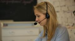 Closeup of a beautiful business customer service woman Stock Footage