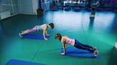 Classes in yoga studio Stock Footage