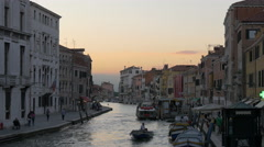 View of Canale di Cannaregio at dusk in Venice Stock Footage