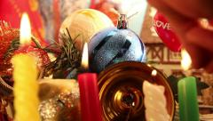Christmas New Year background, lighting candles - stock footage