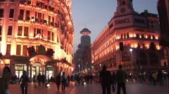 Nanjing Lu shopping, dusk, lights, China Stock Footage