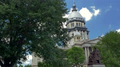 Illinois statehouse with bronze statue and fountain Stock Footage
