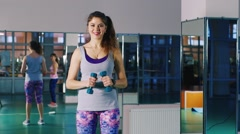 Sexy woman trained in the gym Stock Footage
