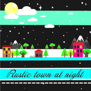 Village city at night in winter - stock illustration