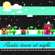 Stock Illustration of Village city at night in winter