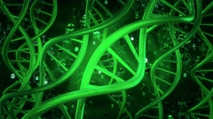 DNA helix in green on dark green Stock Footage