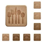 Cutlery wooden buttons Stock Illustration