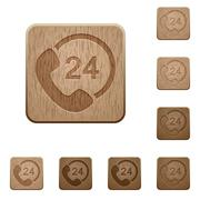Full day service wooden buttons - stock illustration