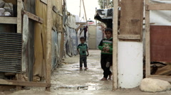 Children in Syrian refugee camp in Lebanon Stock Footage