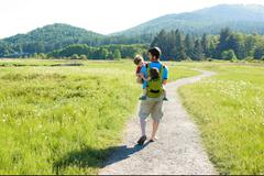 Father hiking with little children (2-3) Stock Photos