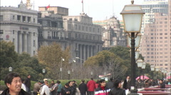The Bund, people walking, Shanghai, China Stock Footage