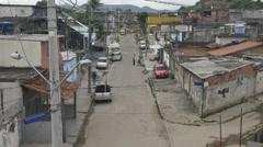 Street scene in Rio favela - stock footage