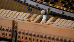 Hammers Inside Piano Straight Stock Footage