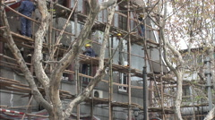 Bamboo scaffolding, construction, China - stock footage