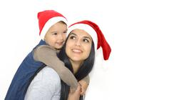 christmas, family, childhood and people concept - happy mother and little gir - stock photo