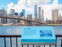Sign at the Brooklyn Bridge Park telling the history of the Broo Stock Photos