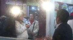 Leaf-wrapped street food, Shanghai market Stock Footage