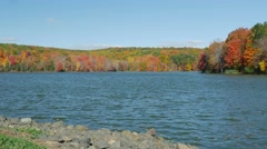 Lakeside during autumn Stock Footage