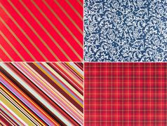 Four gift paper backgrounds Stock Photos