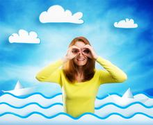 Happy smiling young woman on cartoon background - stock photo