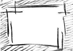 Pencil sketch of empty frame - stock illustration