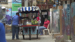 Street scene in Shatila refugee camp, Beirut, Lebanon Stock Footage