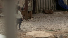 Children in Syrian refugee camp Stock Footage
