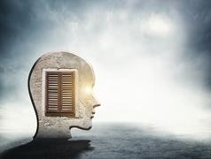 One silhouette of human head with window inside - stock illustration