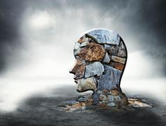 Brick silhouette of human head - stock illustration
