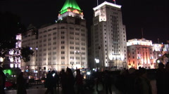 Lights of The Bund, night, Shanghai, China Stock Footage