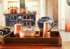 Retro tea-pots - stock photo