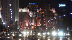 Traffic at night, The Bund, Shanghai, China Stock Footage