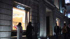Cartier shop at night, Shanghai, China Stock Footage