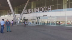 Kurumoch International Airport main entrance Stock Footage