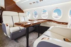 Luxury interior aircraft business aviation Stock Photos