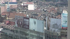 Shanghai rooftops, billboards, China - stock footage