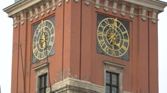 Beautiful clock tower of the Royal Castel in Warsaw Stock Footage